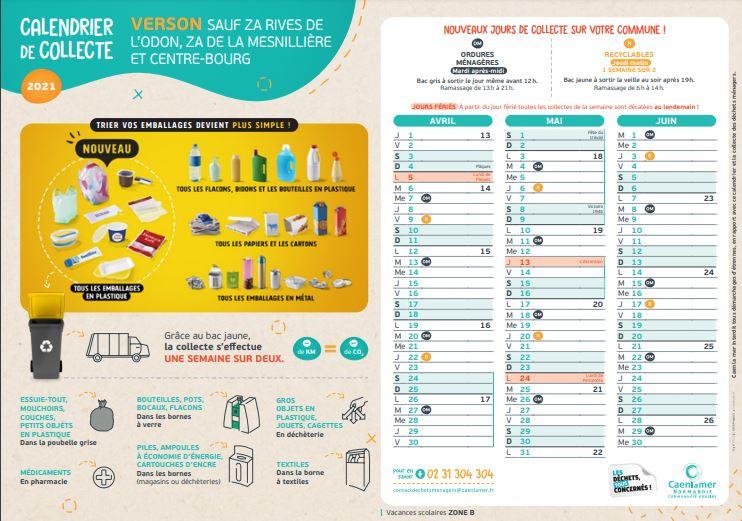 Calendrier de collecte des ordures ménagères sauf ZA Rives de l'Odon, ZA de la Mesnillière et centre-ville